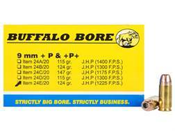 Buffalo Bore Ammunition 9mm Luger +P 124 Grain Jacketed Hollow Point Box of 20