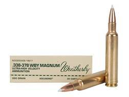 Weatherby Ammunition 338-378 Weatherby Magnum 200 Grain Nosler Accubond Box of 20