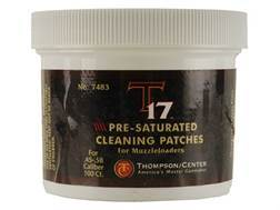 Thompson Center T17 Gun Cleaning Patches 45 to 58 Caliber Black Powder Round Presaturated Cotton Jar of 100