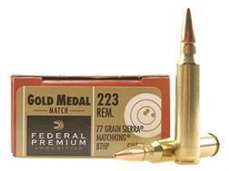 Federal Premium Gold Medal Ammunition 223 Remington 77 Grain Sierra MatchKing Hollow Point Boat Tail