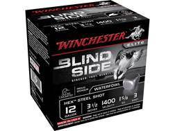 "Winchester Blind Side Ammunition 12 Gauge 3-1/2"" 1-5/8 oz #3 Non-Toxic Steel Shot Box of 25"