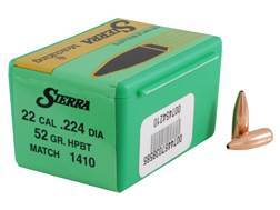 Sierra MatchKing Bullets 22 Caliber (224 Diameter) 52 Grain Hollow Point Boat Tail