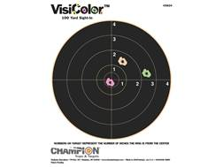 "Champion VisiColor 8"" Bullseye Targets 8.5"" x 11"" Paper Package of 10"