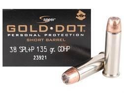 Speer Gold Dot Short Barrel Ammunition 38 Special +P 135 Grain Jacketed Hollow Point