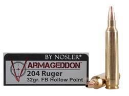 Nosler Varmageddon Ammunition 204 Ruger 32 Grain Hollow Point Flat Base Box of 20