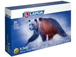 Lapua Mega Ammunition 9.3x62mm Mauser 285 Grain Soft Point Box of 20
