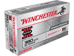 Winchester Super-X Ammunition 380 ACP 85 Grain Silvertip Hollow Point Case of 500 (10 Boxes of 50)