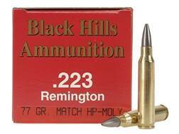 Black Hills Ammunition 223 Remington 77 Grain Sierra MatchKing Hollow Point Moly Box of 50