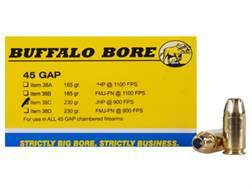 Buffalo Bore Ammunition 45 GAP 230 Grain Jacketed Hollow Point Box of 20