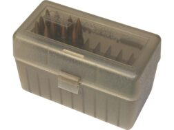 MTM Flip-Top Ammo Box 25-06 Remington, 270 Winchester, 30-06 Springfield 50-Round Plastic Clear Smoke and Black