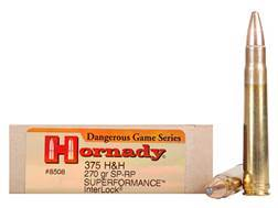 Hornady Dangerous Game Superformance Ammunition 375 H&H Magnum 270 Grain Spire Point Recoil Proof Box of 20