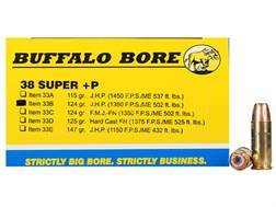 Buffalo Bore Ammunition 38 Super +P 124 Grain Jacketed Hollow Point Box of 20