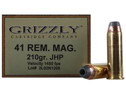 Grizzly Ammunition 41 Remington Magnum 210 Grain Jacketed Hollow Point Box of 20
