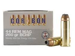 Cor-Bon Hunter Ammunition 44 Remington Magnum 260 Grain Bonded Core Hollow Point Box of 20