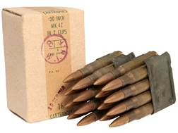 Military Surplus Ammunition 30-06 Springfield 150 Grain Full Metal Jacket Berdan Primed Loaded in 8-Round Garand Clips Box of 16 Rounds
