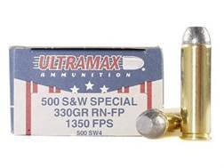 Ultramax Ammunition 500 S&W Magnum 330 Grain Lead Flat Nose Box of 20