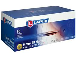 Lapua Scenar-L Ammunition 6mm Norma BR (Bench Rest) 105 Grain Hollow Point Boat Tail Box of 50