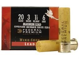 "Federal Premium Wing-Shok Ammunition 20 Gauge 3"" 1-1/4 oz Buffered #6 Copper Plated Shot Box of 25"