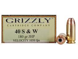 Grizzly Ammunition 40 S&W 180 Grain Hollow Point Box of 20