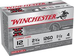 "Winchester Super-X Turkey Ammunition 12 Gauge 2-3/4"" 1-1/2 oz #4 Copper Plated Shot"
