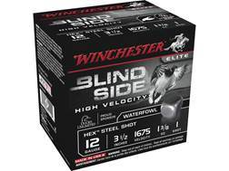 "Winchester Blind Side High Velocity Ammunition 12 Gauge 3-1/2"" 1-3/8 oz #1 Non-Toxic Steel Shot Box of 25"