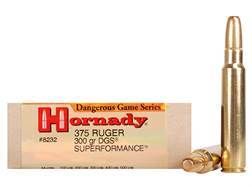 Hornady Dangerous Game Superformance Ammunition 375 Ruger 300 Grain Round Nose Solid Box of 20
