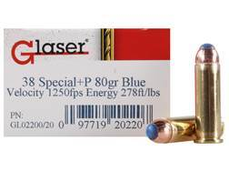 Glaser Blue Safety Slug Ammunition 38 Special +P 80 Grain Safety Slug Package of 20