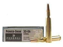 Federal Power-Shok Ammunition 30-06 Springfield 220 Grain Speer Hot-Cor Soft Point Box of 20