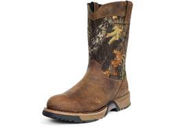"Rocky Aztec Wellington 10"" Waterproof Uninsulated Boots Leather and Nylon Brown and Mossy Oak Break-Up Camo Men's 11-1/2 EE"