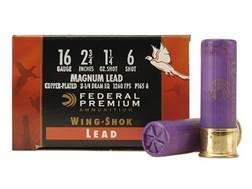 "Federal Premium Wing-Shok Ammunition 16 Gauge 2-3/4"" 1-1/4 oz Buffered #6 Copper Plated Shot Box of 25"