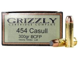 Grizzly Ammunition 454 Casull 300 Grain Hawk Bonded Core Jacketed Flat Point Box of 20