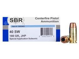 SBR Special Application Subsonic (SAS) Ammunition 40 S&W 180 Grain Jacketed Hollow Point Box of 50