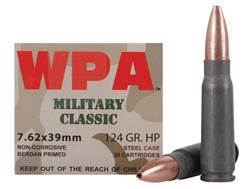 Wolf Military Classic Ammunition 7.62x39mm 124 Grain Jacketed Hollow Point (Bi-Metal) Steel Case Berdan Primed