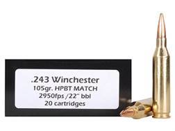 Doubletap Ammunition 243 Winchester 105 Grain Nosler Custom Competition Hollow Point Boat Tail Box of 20