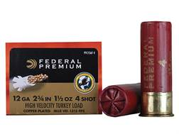 "Federal Premium Mag-Shok Turkey Ammunition 12 Gauge 2-3/4"" 1-1/2 oz #4 Copper Plated Shot High Velocity Box of 10"