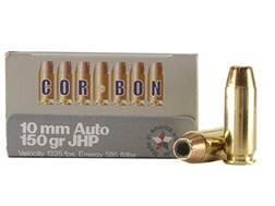 Cor-Bon Self-Defense Ammunition 10mm Auto 150 Grain Jacketed Hollow Point Box of 20