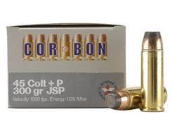 Cor-Bon Hunter Ammunition 45 Colt (Long Colt) +P 300 Grain Jacketed Soft Point Box of 20