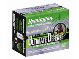 Remington HD Ultimate Defense Ammunition 38 Special +P 125 Grain Brass Jacketed Hollow Point Box of 20