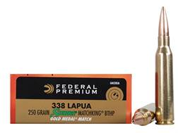 Federal Premium Gold Medal Ammunition 338 Lapua Magnum 250 Grain Sierra MatchKing Hollow Point Boat Tail Box of 20