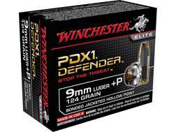 Winchester PDX1 Defender Ammunition 9mm Luger +P 124 Grain Bonded Jacketed Hollow Point Box of 20