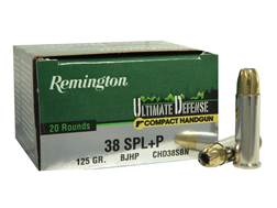 Remington Ultimate Defense Compact Handgun Ammunition 38 Special +P 125 Grain Brass Jacketed Hollow Point Box of 20