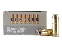 Cor-Bon Self-Defense Ammunition 10mm Auto 135 Grain Jacketed Hollow Point Box of 20