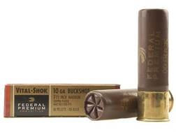 "Federal Premium Vital-Shok Ammunition 10 Gauge 3-1/2"" Buffered 00 Copper Plated Buckshot 18 Pellets Box of 5"