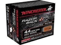 Winchester Razorback XT Ammunition 44 Remington Magnum 225 Grain Hollow Point Lead-Free