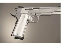 Hogue Extreme Series Grips 1911 Government, Commander Ambidextrous Safety Cut Brushed Aluminum Gloss Clear