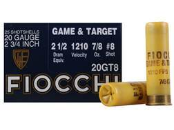 "Fiocchi Dove & Target Ammunition 20 Gauge 2-3/4"" 7/8 oz #8 Shot"