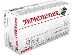 Winchester USA Ammunition 38 Special 125 Grain Jacketed Flat Nose Box of 50
