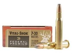 Federal Premium Vital-Shok Ammunition 7-30 Waters 120 Grain Sierra GameKing Soft Point Boat Tail Box