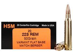 HSM Varmint Gold Ammunition 223 Remington 50 Grain Berger Varmint Hollow Point Flat Base Box of 20