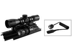 NcStar Sights N' Lights Combo 4x 30mm P4 Reticle Scope with Rings, AK-47 Tri-Rail Mount and Flashlight Matte